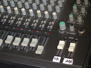 Close up of mixing console.